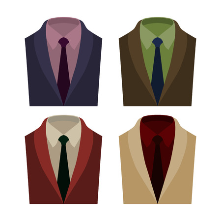 shirt and tie: Set of  trendy mens clothes with jacket, shirt, tie. Mens wardrobe. Vector illustration Illustration