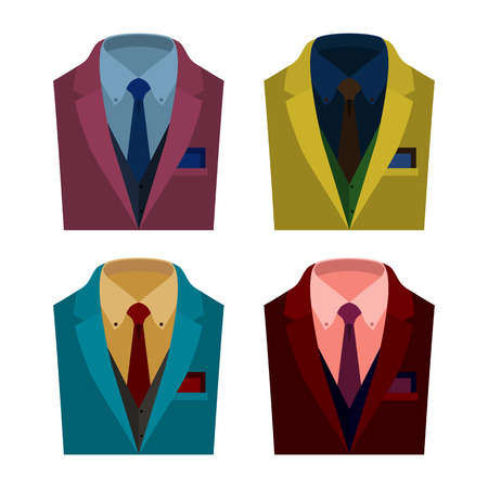 mens clothing: Set of  trendy mens clothes with jacket, vest, shirt, tie and handkerchief. Mens wardrobe. Vector illustration Illustration