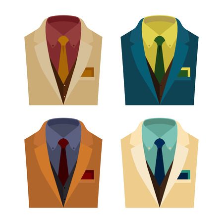 shirt and tie: Set of  trendy mens clothes with jacket, vest, shirt, tie and handkerchief. Mens wardrobe. Vector illustration Illustration