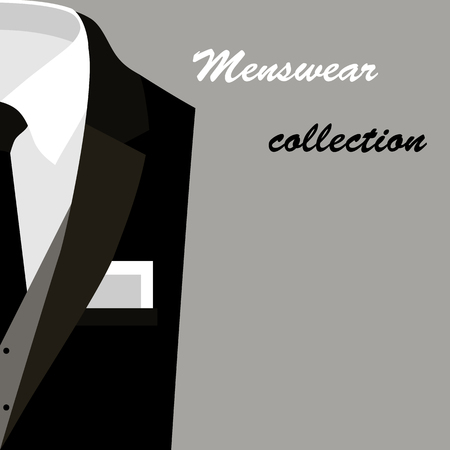 menswear: Card with trendy mens clothes with jacket, vest, shirt, tie, handkerchief and text. Vector illustration