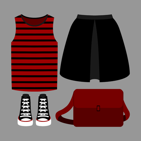 outfit: Set of trendy womens clothes. Outfit of woman skirt, t-shirt and accessories. Womens wardrobe. Vector illustration