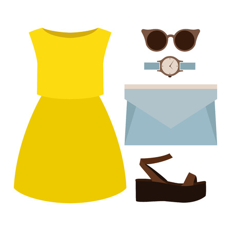 clutch: Set of trendy womens clothes. Outfit of woman dress and accessories. Womens wardrobe. Vector illustration
