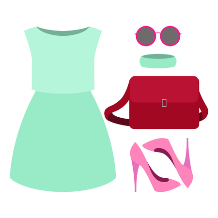 Set of trendy womens clothes. Outfit of woman dress and accessories. Womens wardrobe. Vector illustration