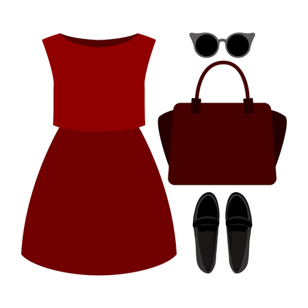 outfit: Set of trendy womens clothes. Outfit of woman dress and accessories. Womens wardrobe. Vector illustration