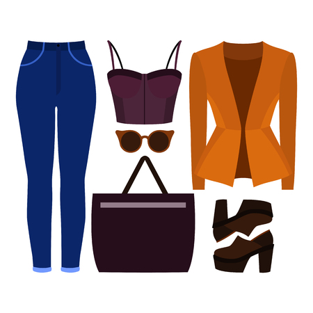 Set of trendy womens clothes. Outfit of woman jacket, jeans, bustiers top and accessories. Womens wardrobe. Vector illustration Illustration