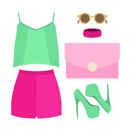 outfit: Set of trendy womens clothes. Outfit of woman shorts, blouse and accessories. Womens wardrobe. Vector illustration