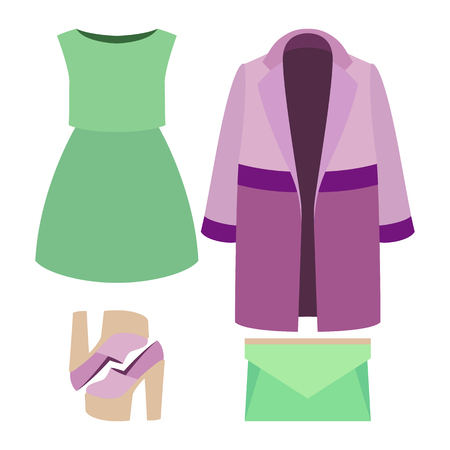 Set of trendy womens clothes. Outfit of woman coat, dress and accessories. Womens wardrobe. Vector illustration