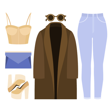 clutch: Set of trendy womens clothes. Outfit of woman coat, jeans, bustiers top and accessories. Womens wardrobe. Vector illustration Illustration