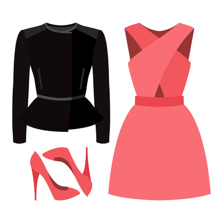 rocker: Set of trendy womens clothes. Outfit of woman rocker jacket, dress and accessories. Womens wardrobe. Vector illustration