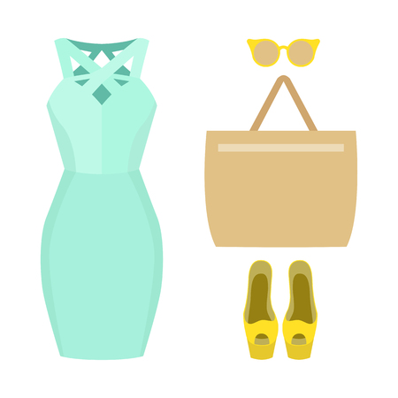 open toe: Set of trendy womens clothes. Outfit of woman dress and accessories. Womens wardrobe. Vector illustration