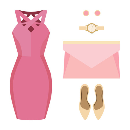 clutch bag: Set of trendy womens clothes. Outfit of woman dress and accessories. Womens wardrobe. Vector illustration