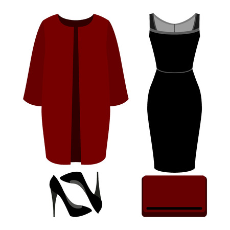 clutch bag: Set of trendy womens clothes. Outfit of woman coat, dress and accessories. Womens wardrobe. Vector illustration