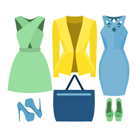 Set of trendy womens clothes. Outfit of woman jacket, dress and accessories. Womens wardrobe. Vector illustration Illustration