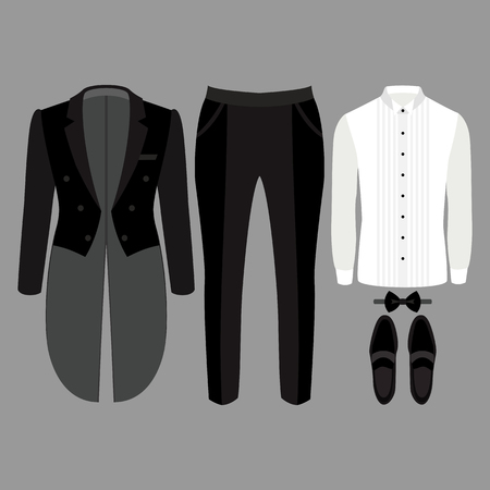 tailcoat: Set of trendy mens clothes. Outfit of man tail-coat, pants, shirt and accessories. Mens wardrobe. Vector illustration