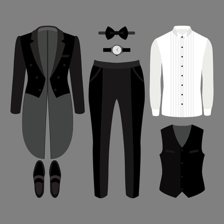 tailcoat: Set of trendy mens clothes. Outfit of man tail-coat, vest, pants, shirt and accessories. Mens wardrobe. Vector illustration Illustration