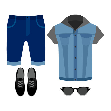 mens clothing: Set of trendy mens clothes. Outfit of man denim vest, shorts and accessories. Mens wardrobe. Vector illustration Illustration