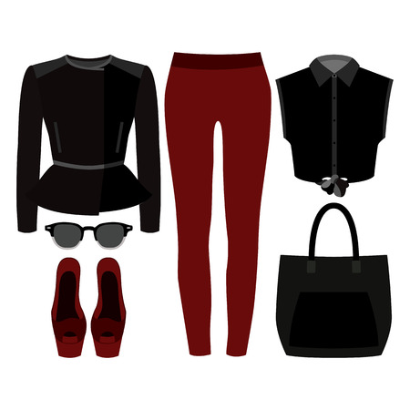 rocker: Set of trendy womens clothes. Outfit of woman rocker jacket, jeans, shirt and accessories. Womens wardrobe. Vector illustration