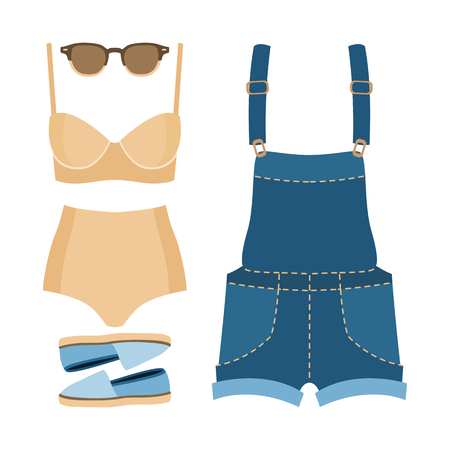 Ensemble de vêtements pour femmes à la mode. Outfit femme maillot de bain, denim globale et accessoires. La garde-robe de la femme. Vector illustration Vecteurs