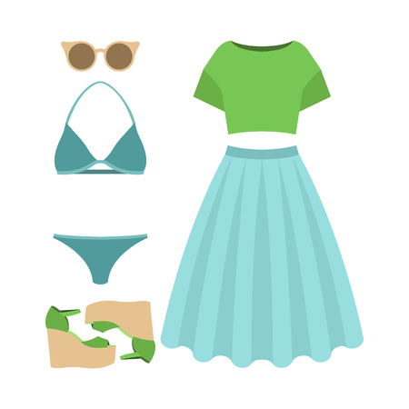 Set of trendy womens clothes. Outfit of woman swimsuit, skirt, top and accessories. Womens wardrobe. Vector illustration Illustration
