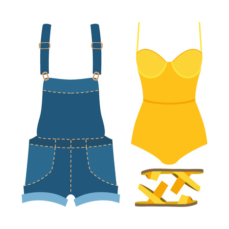 Set of trendy womens clothes. Outfit of woman swimsuit, denim overall and accessories. Womens wardrobe. Vector illustration Illustration
