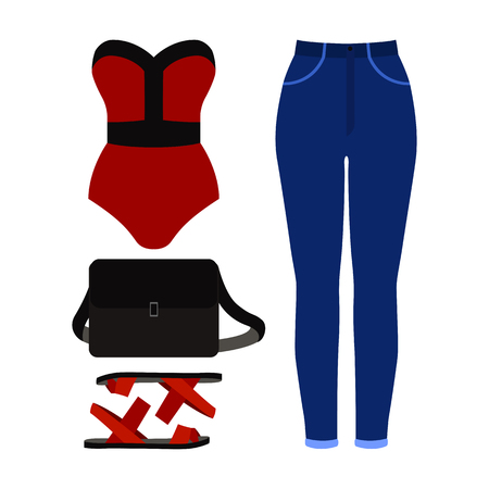 Set of trendy womens clothes. Outfit of woman swimsuit, jeans and accessories. Womens wardrobe. Vector illustration