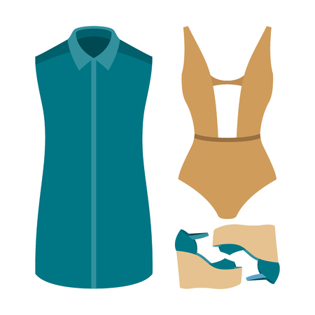 outfit: Set of trendy womens clothes. Outfit of woman swimsuit, dress and accessories. Womens wardrobe. Vector illustration