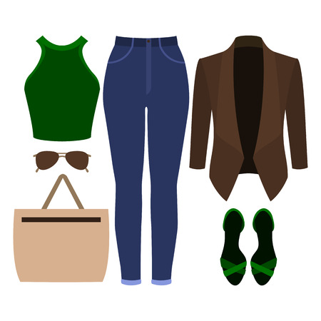 Set of trendy womens clothes. Outfit of woman jacket, jeans, top and accessories. Womens wardrobe. Vector illustration