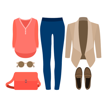 Set of trendy womens clothes. Outfit of woman jacket, jeans, shirt and accessories. Womens wardrobe. Vector illustration Illustration