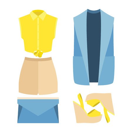 clutch: Set of trendy womens clothes. Outfit of woman vestcoat, shirt, shorts and accessories. Womens wardrobe. Vector illustration