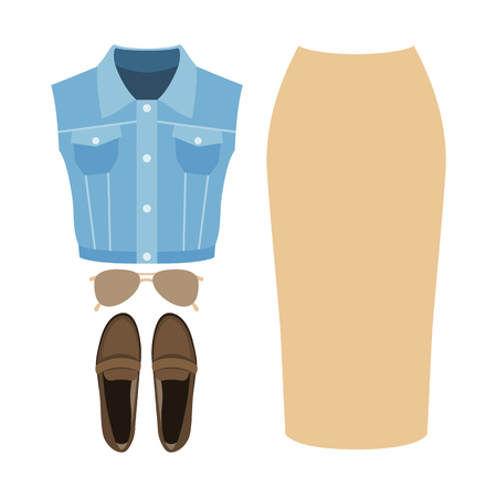 Set of trendy womens clothes. Outfit of woman denim vestcoat, skirt and accessories. Womens wardrobe. Vector illustration Illustration