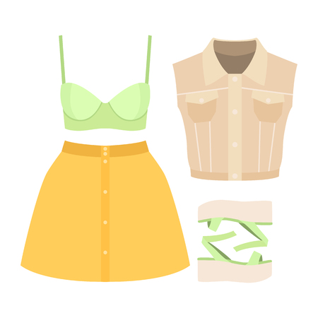 Set of trendy womens clothes. Outfit of woman denim vestcoat, skirt, bra and accessories. Womens wardrobe. Vector illustration