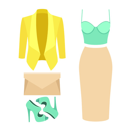 clutch: Set of trendy womens clothes. Outfit of woman jacket, skirt, bustiers top and accessories. Womens wardrobe. Vector illustration
