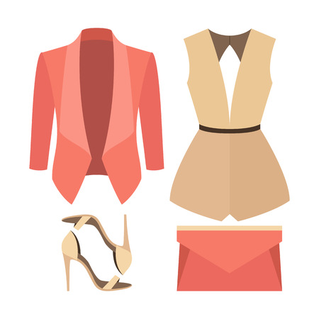 outfit: Set of trendy womens clothes. Outfit of woman jacket, overall and accessories. Womens wardrobe. Vector illustration