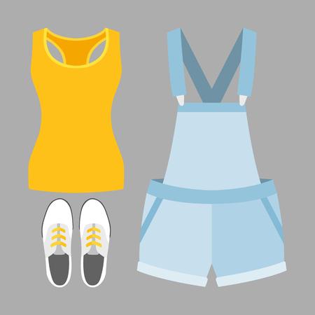 overol: Conjunto de ropa de mujer de moda. Traje de dril de algodón de la mujer en general, camiseta y accesorios. armario de la mujer. ilustración vectorial