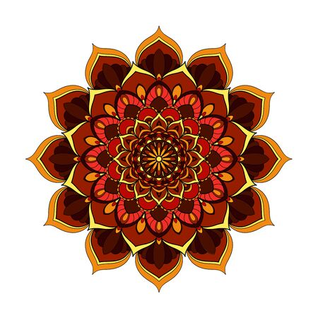 Red and yellow round mandala isolated on white background. Vector illustration