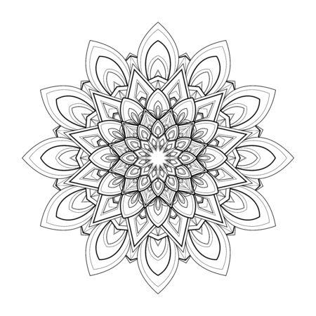 Black and white round mandala isolated on white background. Vector illustration Иллюстрация