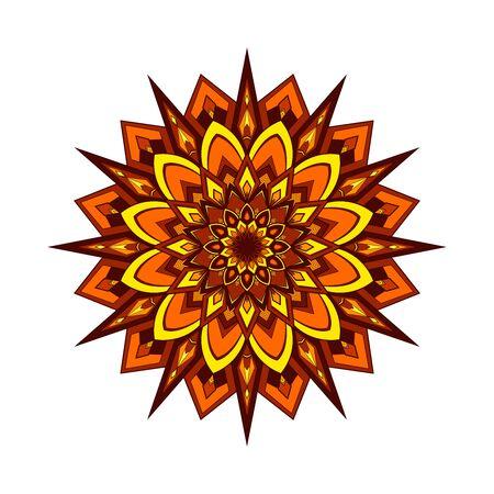Yellow and orange round mandala isolated on white background. Vector illustration