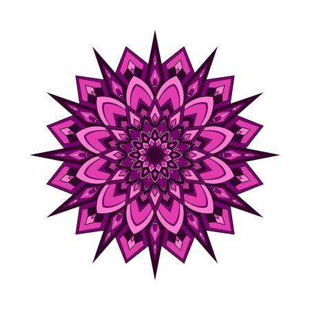Pink and purple round mandala isolated on white background. Vector illustration