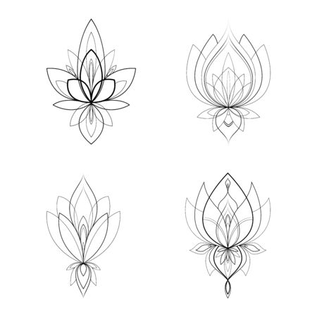 Set of four ethnic Mandala ornaments for Henna drawing and tattoo template. Vector illustration