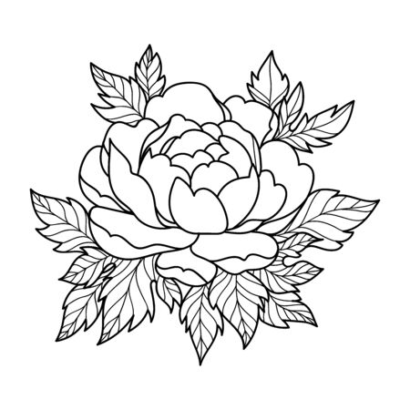 Hand drawing flower for greeting card, invitation, Henna drawing and tattoo template. Vector illustration