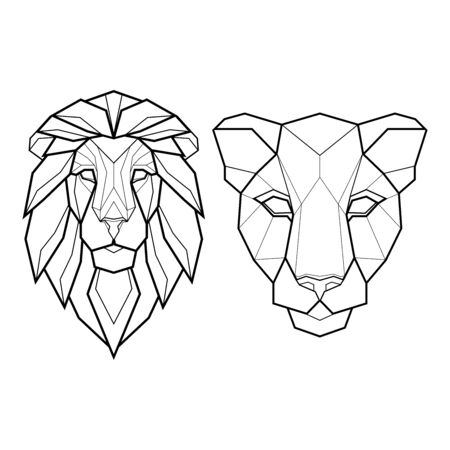 Set of two polygonal abstract heads of a lion and panther. Vector illustration