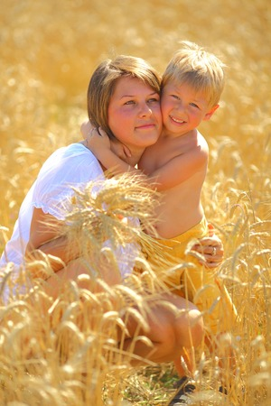 Little boy with his mother photo