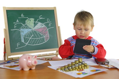 boy develops business strategy Stock Photo