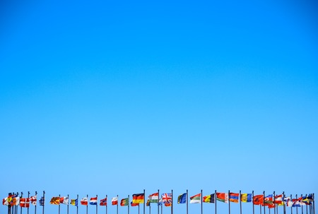 business background of international flags Stock Photo