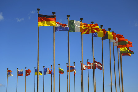 flags world: business background of international flags Stock Photo