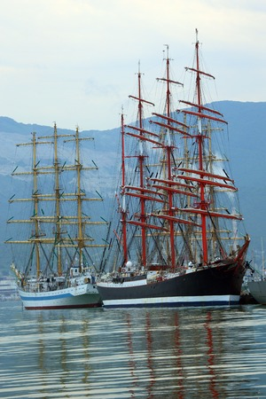 old sailing ships in the port photo