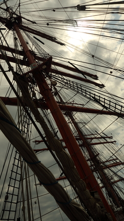 bowsprit: Background -  old sailing ship rigging Stock Photo