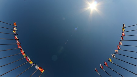 international flags against the sky Stock Photo