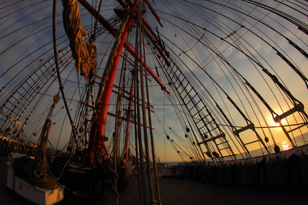 tripping: Background -  sailing ship rigging Stock Photo