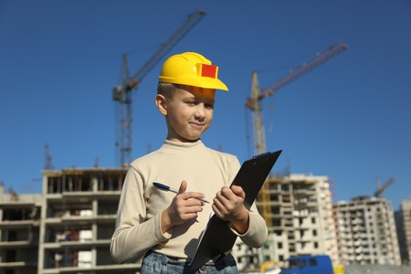superintendent: boy superintendent of building a new home Stock Photo